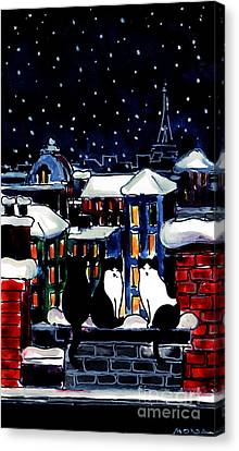 Paris Cats Canvas Print by Mona Edulesco
