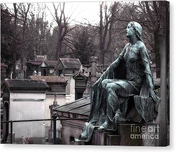 Paris Cemetery Art Sculptures - Female Grave Mourning Figure Monument - Montmartre Cemetery Canvas Print by Kathy Fornal