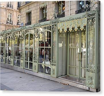Paris Dreamy Laduree Patisserie And Tea Shop - Paris Laduree Doors And Architecture Fine Art Canvas Print by Kathy Fornal