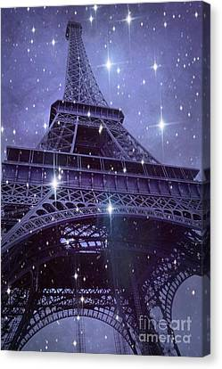 Paris Eiffel Tower Starry Night Photos - Eiffel Tower With Stars Celestial Fantasy Sparkling Lights  Canvas Print by Kathy Fornal