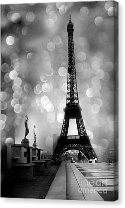 Paris Eiffel Tower Surreal Black And White Photography - Eiffel Tower Bokeh Surreal Fantasy Night  Canvas Print by Kathy Fornal