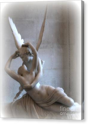 Paris Eros And Psyche Angels Louvre Museum - Paris Angel Art - Paris Romantic Eros And Psyche Art  Canvas Print by Kathy Fornal