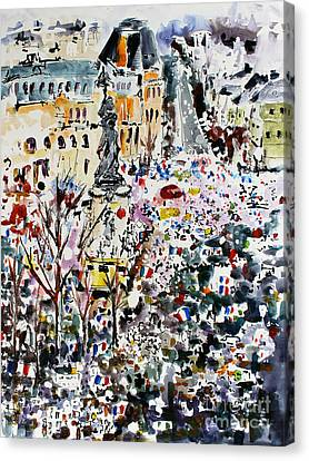 Paris France January 11th 2015 Canvas Print by Ginette Callaway
