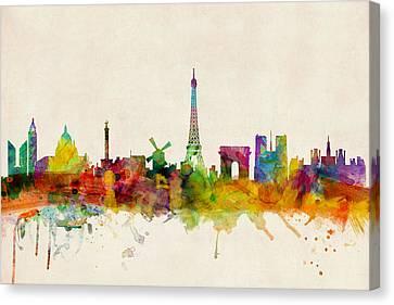 Paris France Skyline Panoramic Canvas Print by Michael Tompsett
