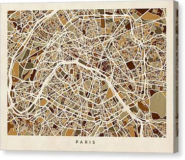 Paris France Street Map Canvas Print by Michael Tompsett