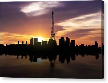 Paris France Sunset Skyline  Canvas Print by Aged Pixel