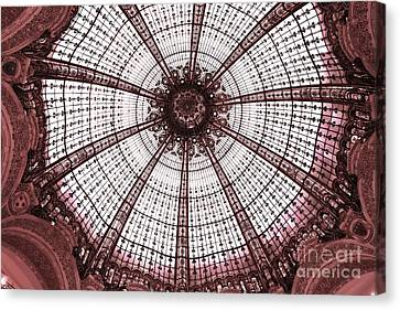 Paris Galeries Lafayette Stained Glass Ceiling Dome - Paris Art Nouveau Abstract Dome Architecture Canvas Print by Kathy Fornal