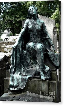 Paris Gothic Female Mourner - Montmartre Cemetery Female Sculpture - Mother Looking Over Son Canvas Print by Kathy Fornal