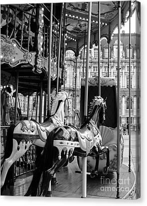Paris Hotel Deville Carousel Horses - Paris Black White Carousel Horses Merry Go Round Carousel  Canvas Print by Kathy Fornal