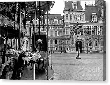 Paris Hotel Deville Black And White Photography - Paris Carousel Merry Go Round At Hotel Deville  Canvas Print by Kathy Fornal
