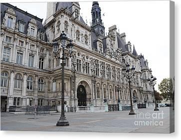 Paris Hotel De Ville Ornate Building - Paris Hotel Deville Architecture  Canvas Print by Kathy Fornal