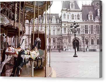 Paris Hotel Deville - Paris Carousel Horses At Hotel Deville - Paris Pink Architecture Art Nouveau Canvas Print by Kathy Fornal