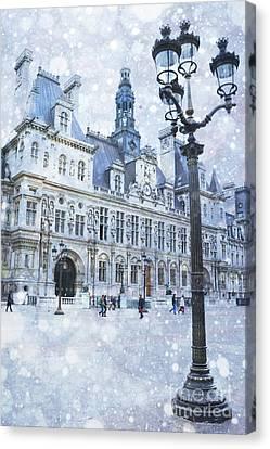 Paris Hotel Deville Winter Blue Snow Scene - Paris Winter Snow Landscape Canvas Print by Kathy Fornal
