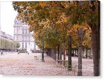 Paris Louvre Jardin Des Tuileries Autumn Fall Trees - Dreamy Tuileries Autumn Trees Nature Gardens Canvas Print by Kathy Fornal
