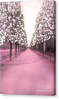 Paris Tuileries Trees Pink Twinkling Fairy Lights Trees- Jardin Des Tuileries Park And Garden Canvas Print by Kathy Fornal