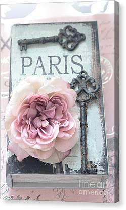 Paris French Key Art - Paris Romantic Pink Roses And Vintage Paris Keys - Paris Shabby Chic Key Art Canvas Print by Kathy Fornal