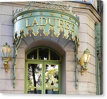 Paris Laduree Door Sign - Romantic Paris Laduree Green And Gold Door Sign And Lamps Canvas Print by Kathy Fornal