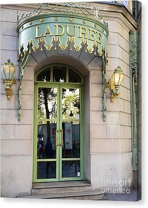 Paris Laduree Fine Art Door Print - Paris Laduree Green And Gold Door Sign With Lanterns Canvas Print by Kathy Fornal