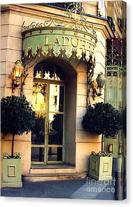 Paris Laduree French Bakery Patisserie - Champs Elysees Location Canvas Print by Kathy Fornal