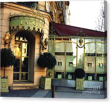 Paris Laduree Macaron French Bakery Patisserie Tea Shop - Champs Elysees - The Laduree Patisserie Canvas Print by Kathy Fornal