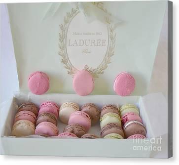 Paris Laduree Pastel Macarons - Paris Laduree Box - Paris Dreamy Pink Macarons - Laduree Macarons Canvas Print by Kathy Fornal