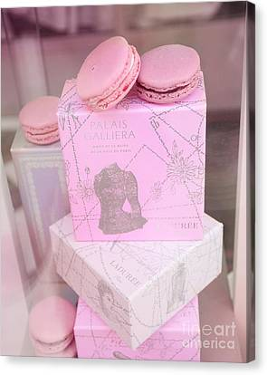 Paris Laduree Pink Box - Paris Laduree Pink Macarons - Paris Laduree Pink Pastel Window Display  Canvas Print by Kathy Fornal