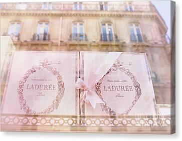 Paris Laduree Pink Boxes Wndow Display - Paris Laduree Macaron Shop Dreamy Pink Boxes Art Canvas Print by Kathy Fornal