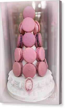 Paris Laduree Pink Macarons - Paris Pink Laduree Window Display - Paris Pink Macarons Window Display Canvas Print by Kathy Fornal