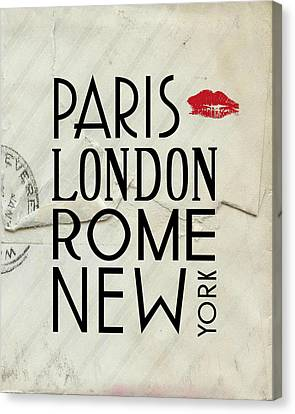 Paris London Rome And New York Canvas Print by Jaime Friedman
