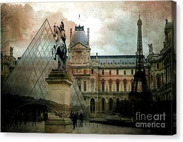 Paris Louvre Museum Pyramid Architecture - Eiffel Tower Photo Montage Of Paris Landmarks Canvas Print by Kathy Fornal