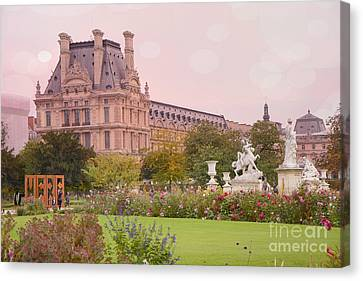 Paris Louvre Palace Tuileries Spring Gardens Floral Romantic Photography Canvas Print by Kathy Fornal