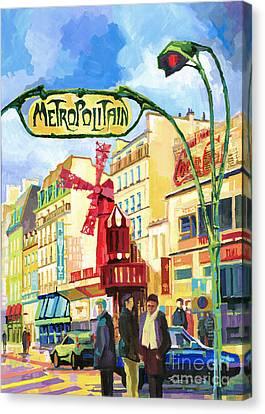 Paris Metropolitain Blanche Moulin Rouge  Canvas Print by Yuriy  Shevchuk