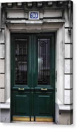 Paris Montmartre Door - Dark Emerald Canvas Print by Georgia Fowler