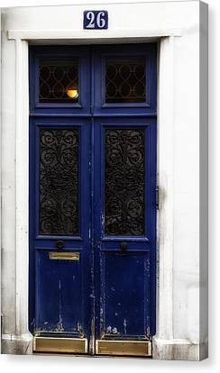 Paris Montmartre Door - Weathered Blue Canvas Print by Georgia Fowler
