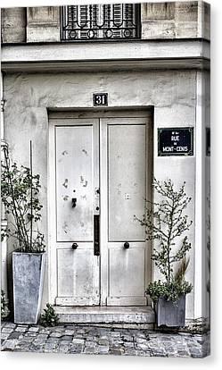 Paris Montmartre Door - White And Pale Canvas Print by Georgia Fowler