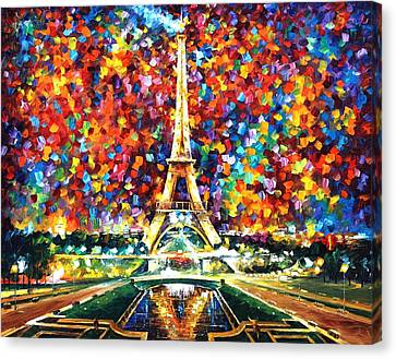 Paris Of My Dreams - Palette Knife Landscape Architecture Oil Painting On Canvas By Leonid Afremov Canvas Print by Leonid Afremov