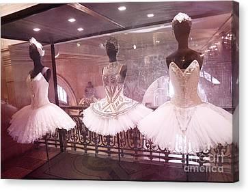 Paris Opera Ballerina Costumes - Paris Opera Garnier Ballet Tutu Costumes At Opera House Canvas Print by Kathy Fornal