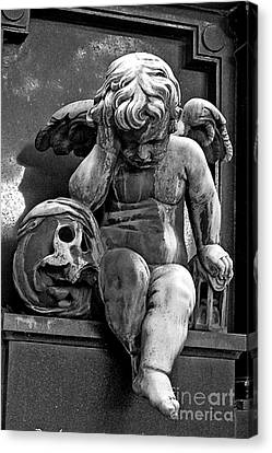 Paris Pere Lachaise Cemetery- Cherub Gothic Angel With Skull Canvas Print by Kathy Fornal