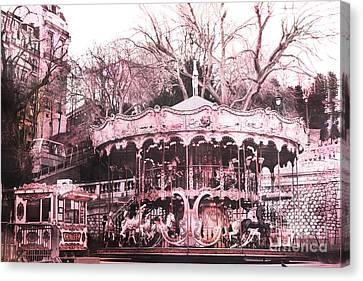 Paris Pink Carousel Merry Go Round- Montmartre District Sacre Coeur Canvas Print by Kathy Fornal