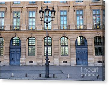 Paris Place Vendome Street Architecture Blue Doors And Street Lamps  Canvas Print by Kathy Fornal
