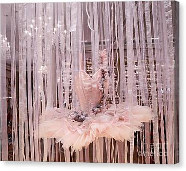 Paris Repetto Pink Ballerina Tutu Dress Shop Window Display - Repetto Ballerina Pink Ballet Tutu Canvas Print by Kathy Fornal