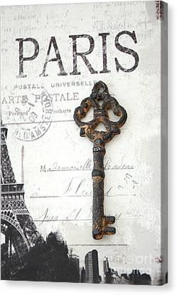 Paris Vintage Key Art - Paris Black And White Vintage Key Decor - Paris Books Skeleton Key  Canvas Print by Kathy Fornal