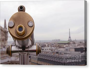 Paris Rooftops - Parisian Rooftop View Of Eiffel Tower - Paris In Winter Rooftop Photography Canvas Print by Kathy Fornal