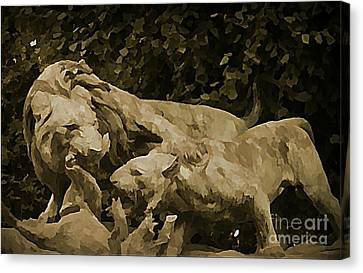 Paris Sculpture Near The Louvre Canvas Print by John Malone