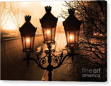 Paris Sepia Street Lanterns Lamps - Paris Sepia Autumn Fall Sparkling Sunset Night Lanterns  Canvas Print by Kathy Fornal