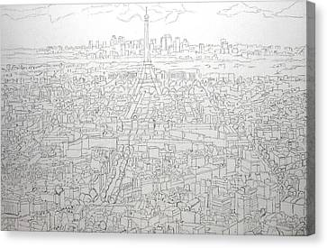 Paris Skyline - Eiffel Tower Canvas Print by Mike Rabe