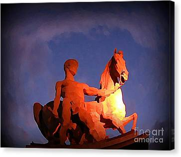Paris Statue Near Eiffel Tower At Night Canvas Print by John Malone