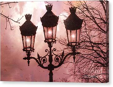 Paris Street Lanterns - Paris Romantic Dreamy Surreal Pink Paris Street Lamps  Canvas Print by Kathy Fornal