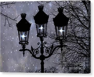 Paris Street Lights Lanterns - Paris Starry Night Dreamy Surreal Starlit Night Street Lamps Of Paris Canvas Print by Kathy Fornal