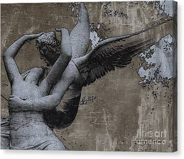 Paris - Surreal Angel Art - Eros And Psyche  Canvas Print by Kathy Fornal